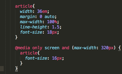 """CSS for the """"article"""" tag"""