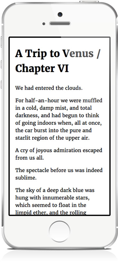 The paragraphs still look quite nice on a small hand-held mobiledevice.